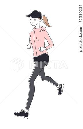 少婦賽跑的例證。為健康而奔跑的女人。 72550232
