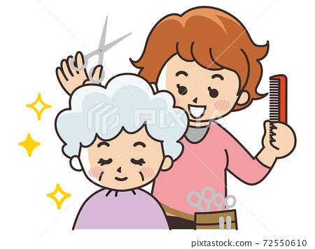 美髮師婦女和顧客 72550610