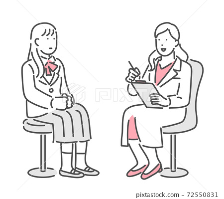 Illustration material of a school counselor talking to a female student 72550831