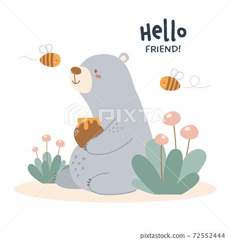 곰과 꿀벌의 그림 72552444