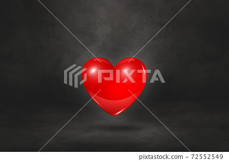 3D red heart on a black studio background 72552549