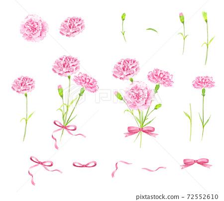 康乃馨花束水彩插圖零件集 72552610
