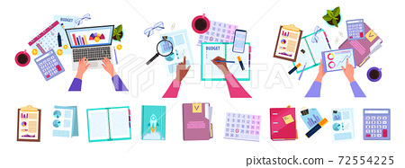 Financial accounting, audit or budget planning set with hands, laptop, office stationery,tablet 72554225