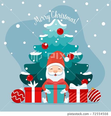 Christmas Santa Claus Cartoon. Merry Christmas and happy new year greeting card. Vector Illustration 72554508