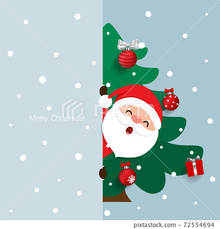 Cartoon vector Santa Claus and decorated christmas tree. Holiday background.  72554694