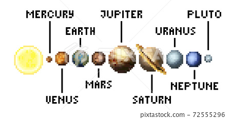Solar System Planets 8 Bit Video Game Pixel Art 72555296