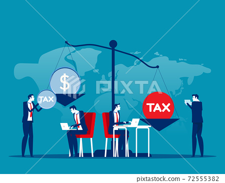 Business people put heavy tax and money weight on huge scale. Financial bankruptcy. Business taxation concept 72555382