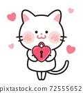 貓愛情人節白色情人節插畫素材 72555652