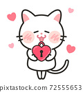 貓愛情人節白色情人節插畫素材 72555653