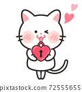貓愛情人節白色情人節插畫素材 72555655