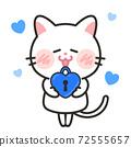 貓愛情人節白色情人節插畫素材 72555657
