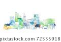 Urban landscape, light blue and green cityscape 72555918