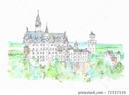 World Heritage Cityscape, Neuschwanstein Castle, Germany 72557339
