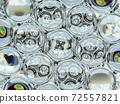 Diamond gemstone shine glass sphere bubbles pattern kaleidoscope background 72557821