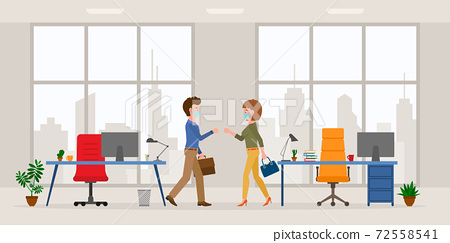 Coronavirus prevention cartoon character male and female bumping fists, saying hello in modern office room vector set. Safe handshake, keep distance, wear mask at workplace on cityscape silhouette 72558541