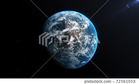 Animation of Earth seen from space, the globe spinning on satellite view on dark background. 3D animation. 72561058