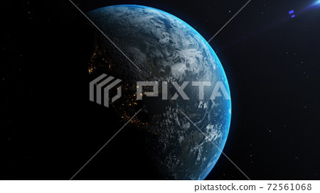 Animation of Earth seen from space, the globe spinning on satellite view on dark background. 3D animation. 72561068