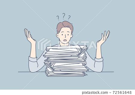 Overworking, depression, deadline, mental stress, business concept 72561648
