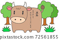 Illustration of New Year's card, cow character and trees 72561855