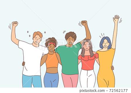 Friendship, portrait, multiethnicity concept 72562177