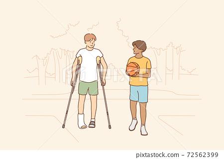Health, care, sport, basketball, friendship, childhood concept 72562399