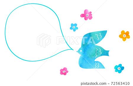 수채화 텍스처의 새와 풍선과 꽃 72563410