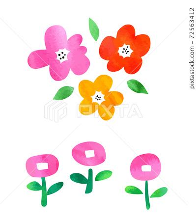 수채화 질감의 화려한 꽃 세트 72563412