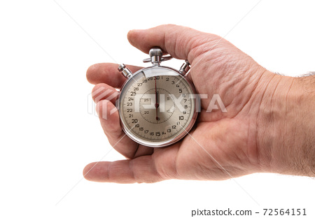 hand with stopwatch isolated 72564151