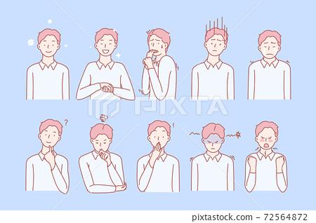 Boys emotions and facial expresions set 72564872