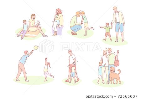 Family, childhood, fathersday, mothersday, love set concept 72565007