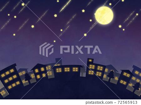 보름달과 유성의 야경 이미지 72565913