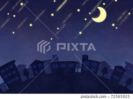 초승달과 유성의 야경 이미지 72565925