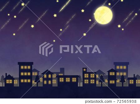 보름달과 유성의 야경 이미지 72565938