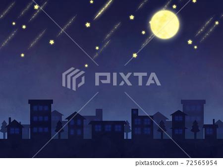 보름달과 유성의 야경 이미지 72565954