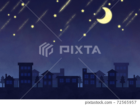 초승달과 유성의 야경 이미지 72565957