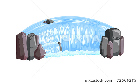 Waterfall cascade isometric view. Waterfall landscape with rocks and foam. Vector illustration 72566285