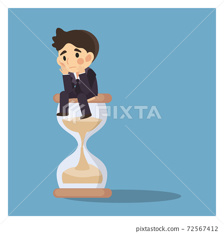 Businessman keep sitting and waiting on a hourglass. Business Concept Cartoon Illustration vector. creative thinking. 72567412