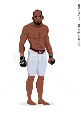 Vector mixed martial arts man wrestler wearing sportswear standing isolated on white background. Afro-american sportsman. Boxing champion fighter character. 72567480