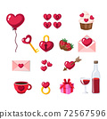 set on the theme of Valentine's day love holiday. Bundle of Valentines Day isolated objects in cartoon style. Symbols, love, romance, hearts, wine, cards, ring, rose, cupcakes , balloon , chocolate. 72567596