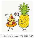 Funny cartoon character, Pizza and pineapple, for T-shirt graphic/sticker. Food joke. pizza run away from pineapple, said No to pineapple on pizza. 72567645