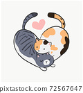 2 cats are cuddle like herart shape. Cute lovely cats vector illustration. 72567647