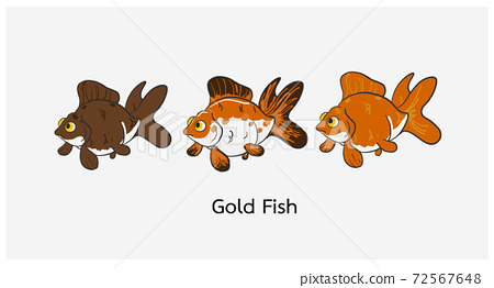 Cute cartoon of goldfish vector illustration. 72567648