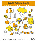 Set of doodle Autumn object in orange and yellow color. 72567650
