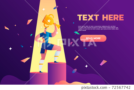 Football players celebrating golden cup team just won. Flat vector illustration on soccer league champions. Cheerful football trophy winning concept 72567742