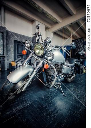Large silver motorcycle cruiser 72570973