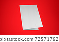 Close up empty invitation card with blank space for copy, 3D rendering on red color background. 72571792