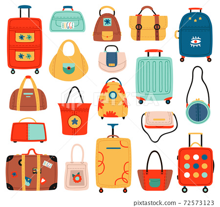Travel bags. Handle travel luggage bag, suitcase and fashion ladies handbags, tourism shopping bag. Luggage handbags vector illustration set 72573123