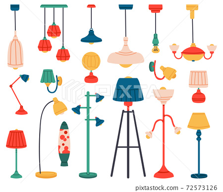 Home light. Interior lamps, ceiling lamps, pendant, reading lamp, spotlight and floor lamp. Indoor lighting vector illustration set 72573126