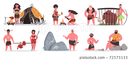 Prehistoric characters. Caveman life scenes, stone age cave and hut. Hunting, cooking and collecting primitive people vector illustrations 72573133