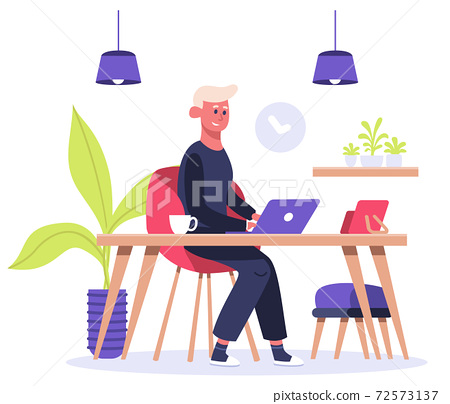 Freelance worker. Man works on laptop at home, male freelance character, convenient home office workplace. Working from home vector illustration 72573137
